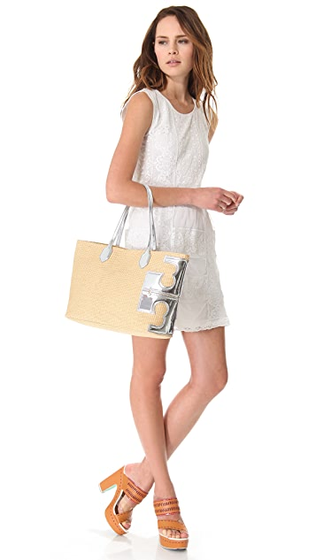 Tory Burch Stacked T Metallic Tote