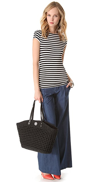 Tory Burch Twisted Straw Megan Tote