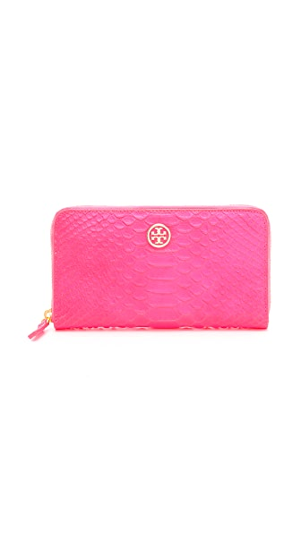 Tory Burch Neon Snake Zip Continental Wallet