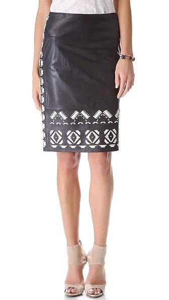 Tory Burch Brianna Leather Skirt