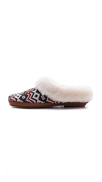 Tory Burch Coley Knit Shearling Lined Slippers