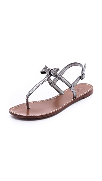 Tory Burch Bryn Pave Bow Flat Sandals