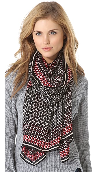Tory Burch Checkered Cube Scarf