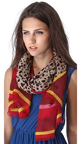 Tory Burch Multi Border Cheetah Scarf