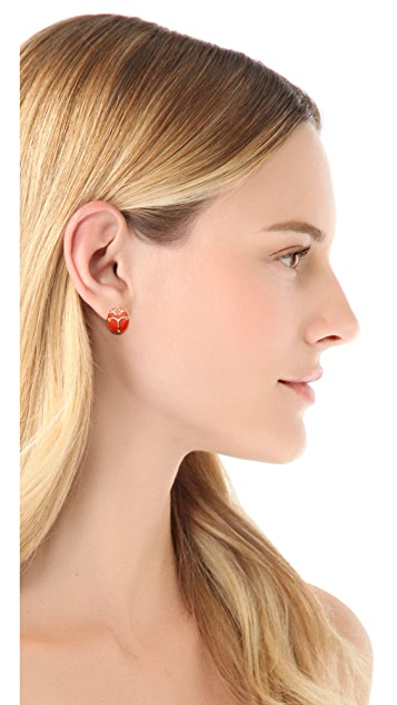 Tory Burch Winslow Beetle Stud Earrings