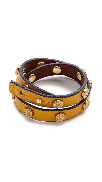Tory Burch Logo Stud Double Wrap Bracelet