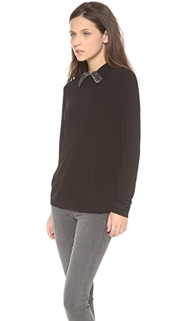 Tory Burch Clio Embellished Collar Top