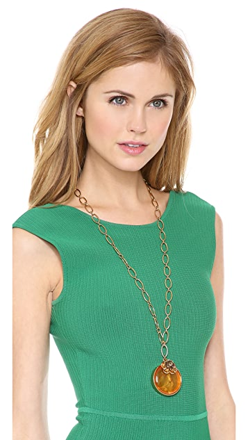 Tory Burch Crystal Rose Pendant Necklace