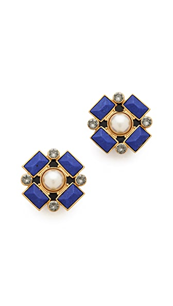 Tory Burch Delphine Clip On Button Earrings
