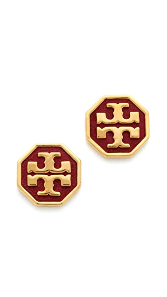 Tory Burch Sylbie Logo Leather Earrings