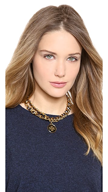 Tory Burch Metallic Leather & Chain Necklace