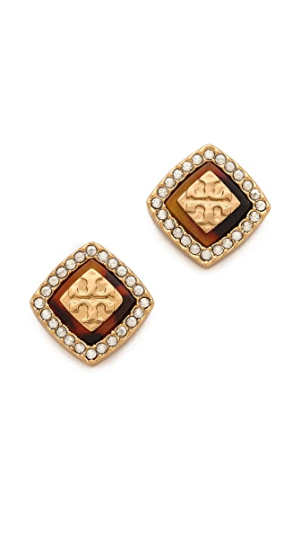 Tory Burch McCoy Pave Stud Earrings