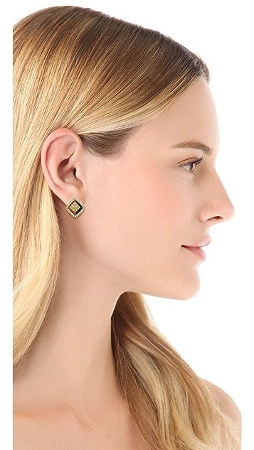 Tory Burch McCoy Pave Stud Earrings