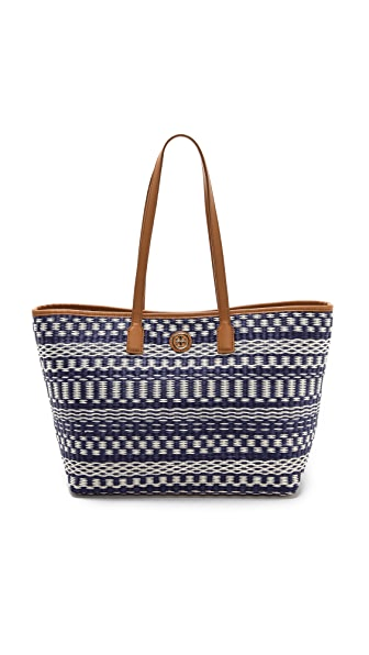 Tory Burch Small Stripe Straw Tote