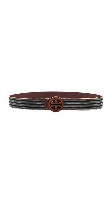 Tory Burch Striped Reversible Logo Belt