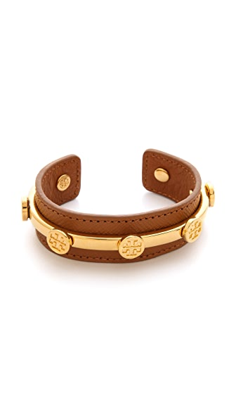 Tory Burch Leather Logo Cuff Bracelet