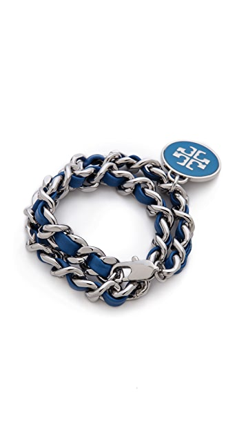 Tory Burch Leather & Chain Wrap Bracelet
