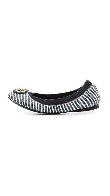 Tory Burch Caroline 2 Striped Elastic Ballet Flats