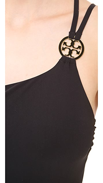 Tory Burch Logo One Shoulder One Piece Swimsuit