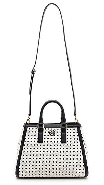 Tory Burch Robinson Basket Weave Triangle Tote