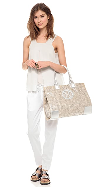 Tory Burch Ella Metallic Straw Tote