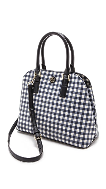 Tory Burch Gingham Open Dome Tote