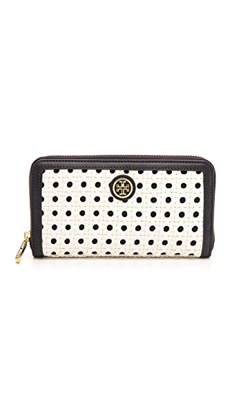 Tory Burch Robinson Basket Weave Continental Wallet