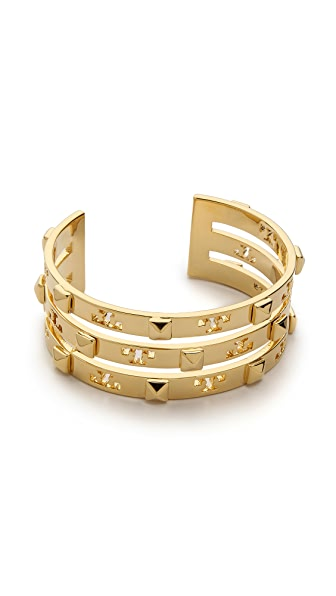 Tory Burch Stacked Logo Stud Cuff Bracelet