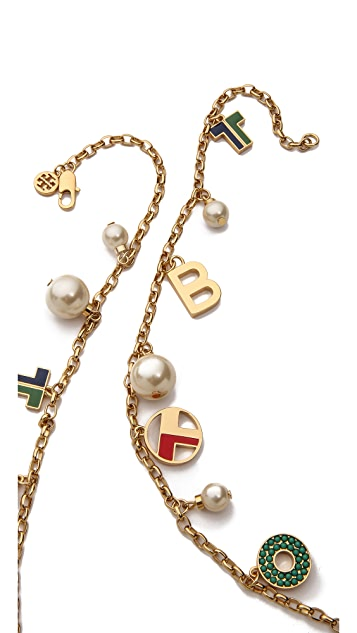 Tory Burch Theresa Charm Rosary Necklace