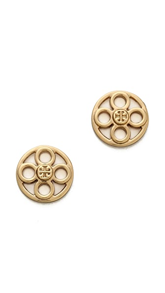 Tory Burch Geo Star Logo Stud Earrings