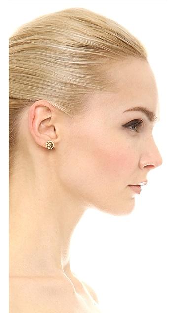 Tory Burch Geo Star Logo Stud Earrings