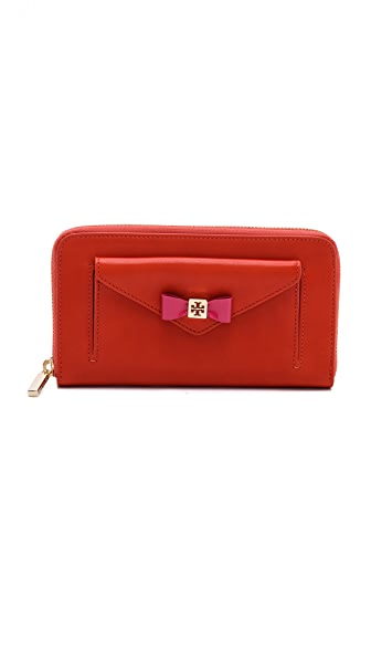 Tory Burch Bow Zip Continental Wallet