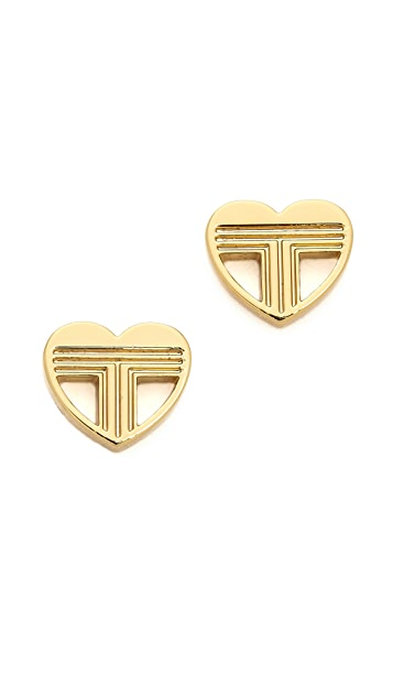 Tory Burch Adeline Fret Stud Earrings