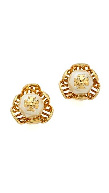 Tory Burch Caras Flower Stud Earrings