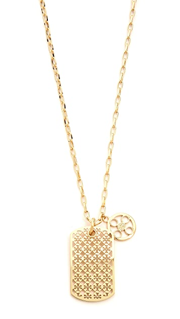 Tory Burch Kinsley Dog Tag Necklace