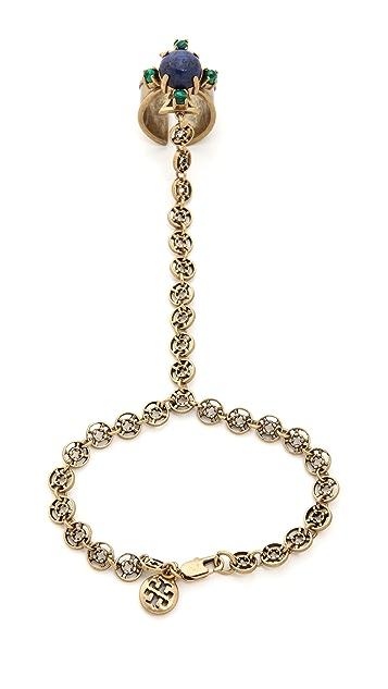 Tory Burch Stone Ring Hand Chain