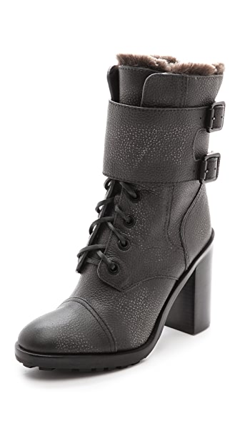 Tory Burch Broome Combat Boots with Shearling Lining