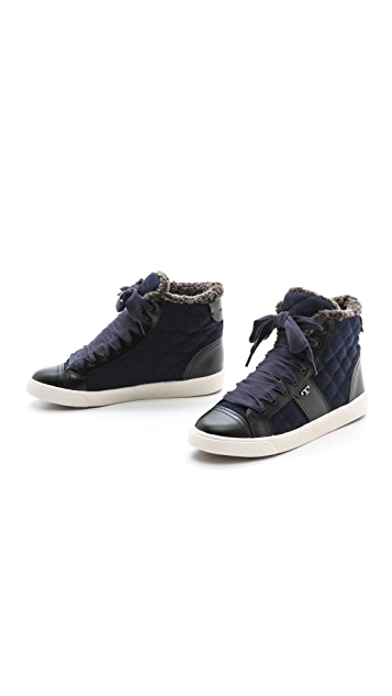 Tory Burch Oliver Flannel High Top Sneakers