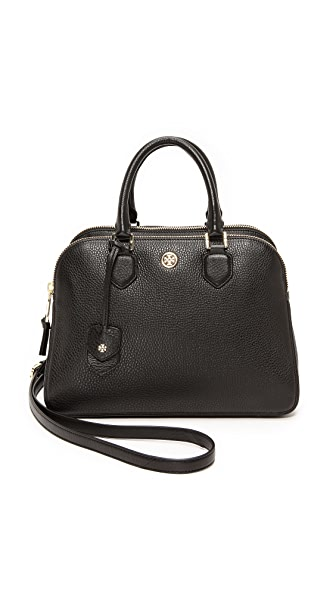 Tory Burch Robinson Pebbled Triple Zip Satchel