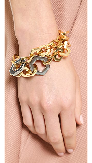 Tory Burch Hexagon Metal Bracelet