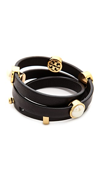 Tory Burch Livia Leather Triple Wrap Bracelet