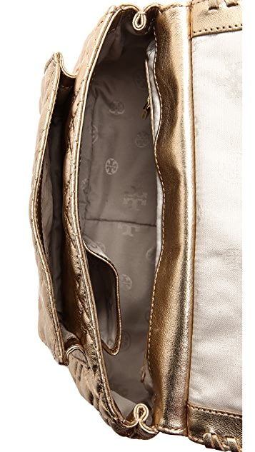 Tory Burch Marion Metallic Quilt Small Bag