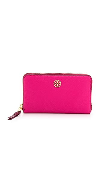 Tory Burch Robinson Pebbled Large Zip Continental Wallet