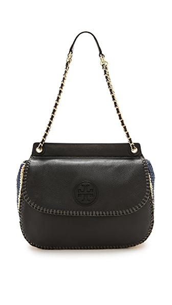 Tory Burch Marion Crochet Straw Saddle Bag