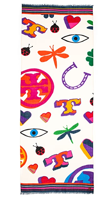 Tory Burch Luck Charm Printed Scarf