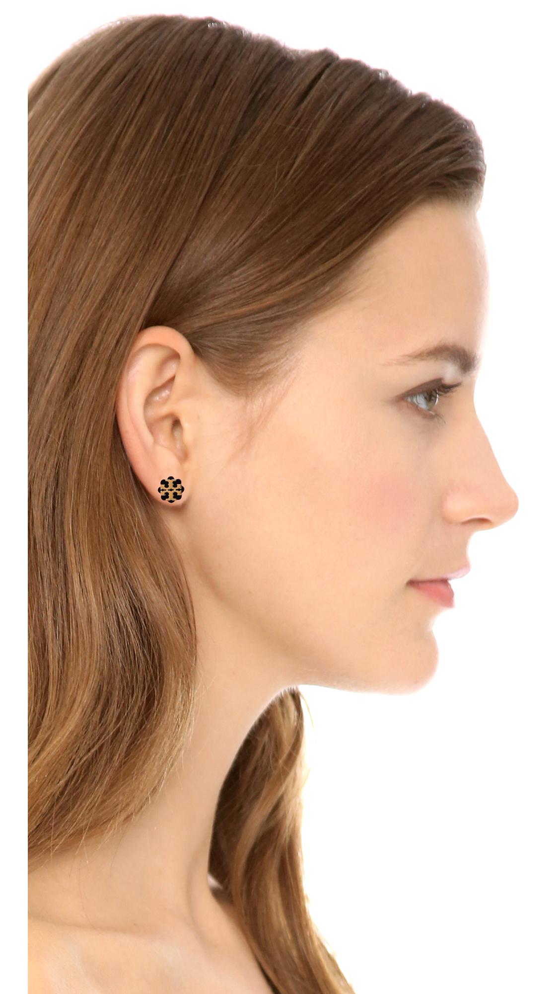 262cea87a Tory Burch Logo Flower Resin Stud Earrings | SHOPBOP