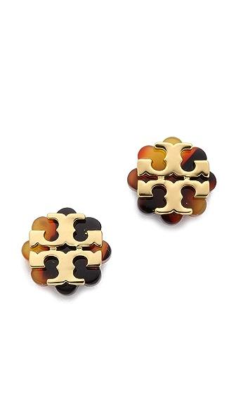 Tory Burch Logo Flower Resin Stud Earrings