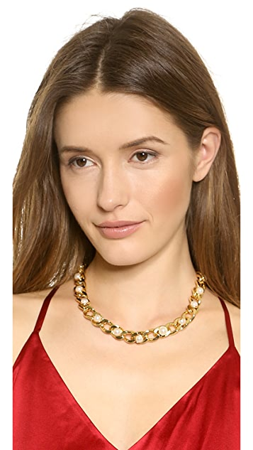 Tory Burch Winchel Pearl Chain Necklace
