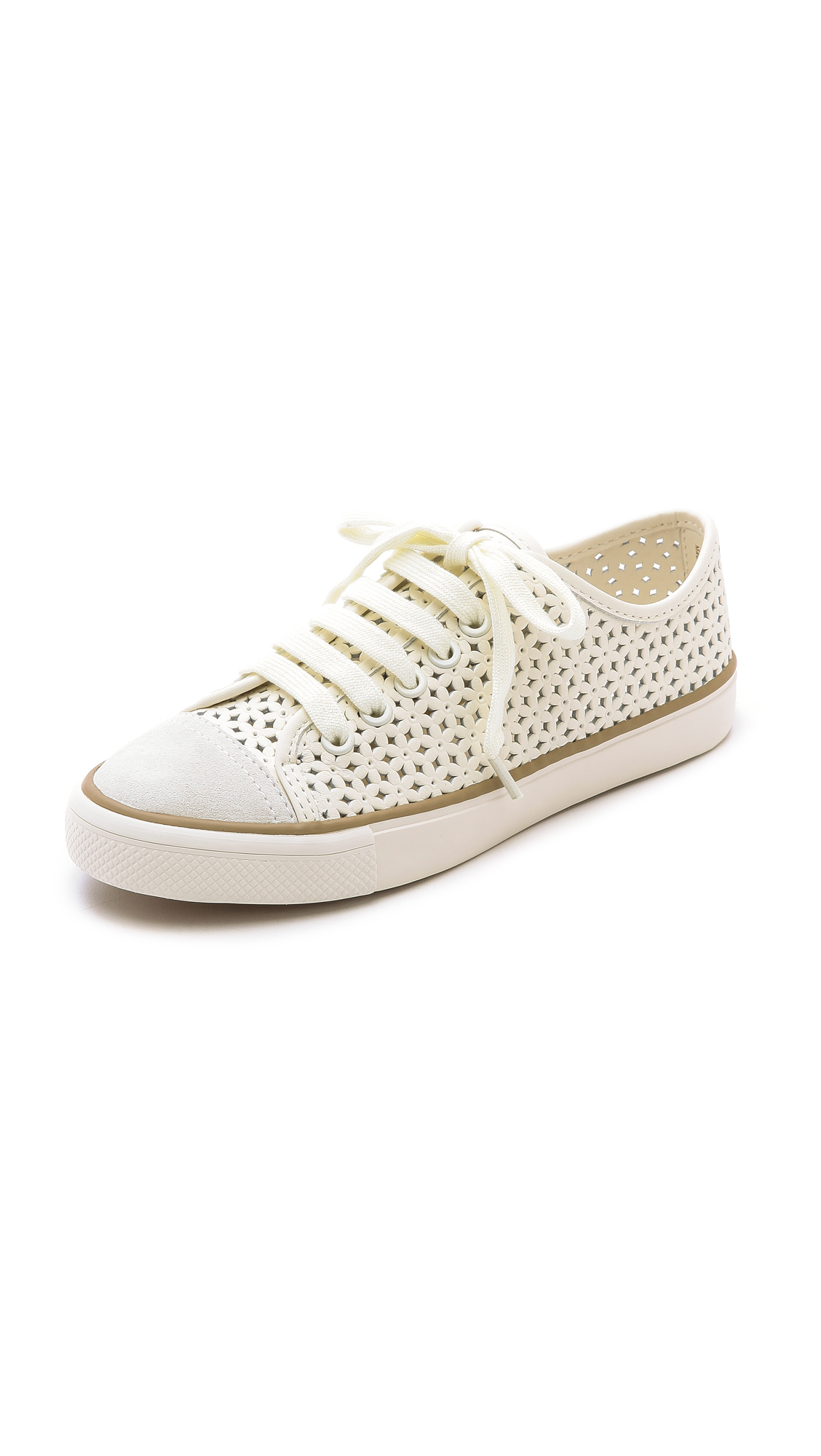 3cf8593d8ab472 Tory Burch Daisy Perforated Low Top Sneakers