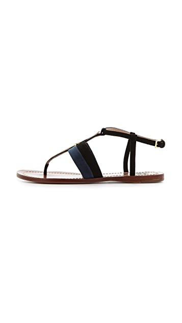 Tory Burch Bar Logo Flat Sandals